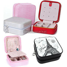 Travel Portable Leather Zip Jewelry Display Holder Storage Case Organizer Box
