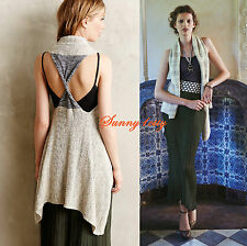 NEW M/LP Anthropologie Twist-Back Sweater Vest By Sparrow 5Star Rev Comfy & Chic