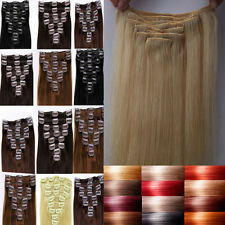 100% Real Deluxe Clip In Remy Human Hair Extensions Full Head Cheap Prices F158