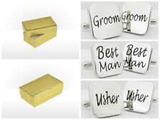 GIFT BOXED SQUARE mens wedding cufflinks cuff link Groom best man usher page GLD