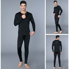 Mens 100% Pure Silk Long John Set Thermal Underwear Top & Bottom Heavy Weight