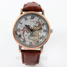 Classcial Retro Style World Map Men Women Boy Girl Faux Leather Wrist Watch Gift