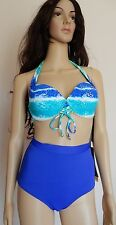 COCO REEF High Waist Under-wired Push Up swimsuit S 32DD 34DD Blue Sea $116
