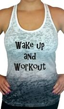 Womens Workout Tank Top, Wake Up and Work Out Ombre Burnout Racerback Tank Top