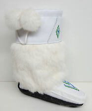AUTHENTIC CANADIAN MID MUKLUK WITH CREPE SOLE, WHITE LEATHER
