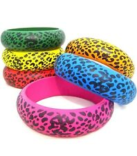 PLUS SIZE Wide Color CHUNKY WOOD CHEETAH PATTERN QUEEN SIZE XXL BANGLE BRACELETS