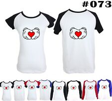 Cute Disney Mickey Mouse Hands Red Love gesture Design Couple T-Shirt Tee Tops