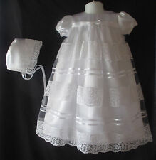 Baby Girls White Satin & Lace Christening Gown/ Baptism Dress Size 0-12 Months