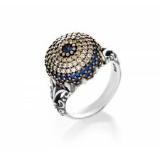 925 Sterling Silver Turkish Evil Eye Good Luck Ring Blue Sapphire CZ Stone Woman
