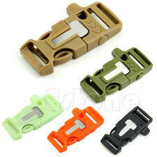 New Side Release Whistle Buckle Flint Fire Starter Escaper For Paracord Bracelet