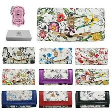 LADIES BUTTERFLY FLORAL FLOWER LEATHER PURSE LARGE WALLET HANDBAG CLUTCH BAG NEW