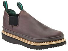 Georgia Men's Giant Romeo Casual Slip On Leather Work Shoes Soggy Brown GR274
