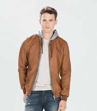 NWT ED Jordan Men's Zara Faux Leather hooded jacket Camel Motorcycle S-2XL