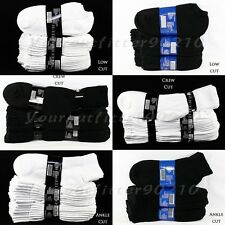 12 Pairs Lot Men 9-11 10-13 Athletic Sports Cotton Crew Ankle Socks White Black
