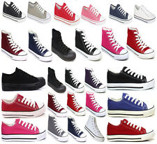 WOMENS LADIES FLAT CANVAS SHOES GIRLS PLIMSOLLS PUMPS CASUAL LACE UP TRAINERS UK