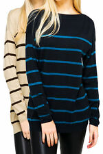 New Ladies Striped Jumper Blue Or Coffee Fine Knitted Top Size 12 - 20