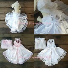 Pet Wedding Dress Gown Bridesmaids Clothes Costume Dog Lace Satin Tulle S-Xl