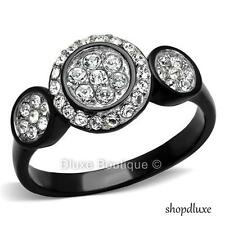 1.35 CT HALO ROUND CUT CZ BLACK STAINLESS STEEL ENGAGEMENT RING WOMEN'S SZ 5-10