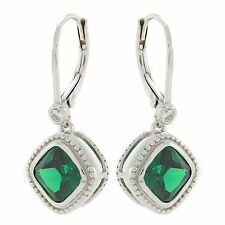 925 Sterling Silver leverback earrings with lab created Square sapphire or CZ