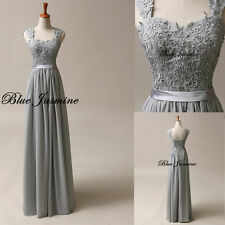Stock Long Formal Evening Gown Gray Bridesmaid Prom Dress Wedding Party Dress