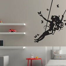 Vinyl wall sticker Woman on Swing. Wall Stickers