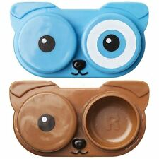 Kikkerland Pet Puppy Dog Contact Lens Storage Case Brown Blue Soft Hard Lense