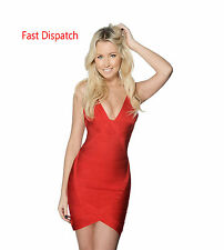 Herve Quality Red Womens Sexy Celeb Bandage Boutique Bodycon Party Mini Dress