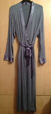 LADIES EX STORE LONG JERSEY WITH SATIN TRIMMING DRESSING GOWN/ROBE UK SIZES 8-22