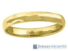 10K Yellow Gold Mens Ladies Hollow Comfort Fit Wedding Ring Band 3mm Size 5-13