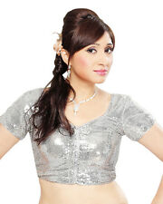 Dazzling Silver Shimmer Sequined Party-Wear Saree Blouse Sari Top