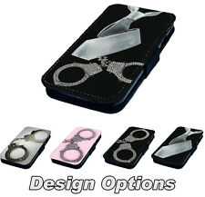 Hand Cuffs and Tie Design Printed Faux Leather Flip Phone Cover Case