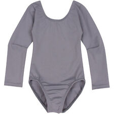 GRAY Long Sleeve Leotard for Toddler and Girls