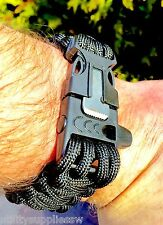 Bear Grylls style Paracord Military Survival Bracelet FLINT & WHISTLE Camping