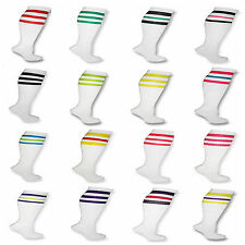 White Knee High Tube Socks w/ Various Colored Stripes Sport Soccer Running Team
