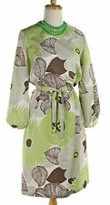 Vintage 60s Mod Hippie Dress w Huge Lime Green & Brown Flowers - Sz M - Hey Viv