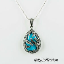 Sterling Silver Pendant with Blue Turquoise or Black Onyx with Swiss Marcasite