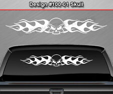 Design #100-01 Skull Rear Window Decal Sticker Vinyl Graphic Flame Flaming Truck