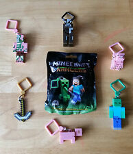 "Minecraft 3D Hangers -3"" Keychain, Keyring, Choose Your Bag Belt Clip New"