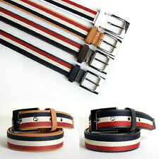 Mens Square Silver Buckle Faux Leather Stripe Canvas Belts