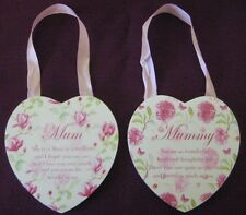 PLAQUE MUM MUMMY HEART SHAPED VINTAGE LANE WITH POEM  LOVELY GIFT PRESENT