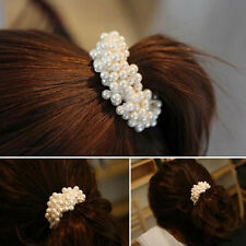HOT Charming Womens Pearls Beads Hair Band Rope Scrunchie Ponytail Holder New