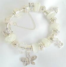 LADIES/WOMENS PERSONALISED CHARM BRACELET ICE WHITE CLEAR BEADS GIFT PRESENT BOX