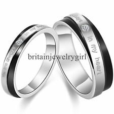 """You Are Always In My Heart"" Stainless Steel Mens Ladies Couple Promise Ring"