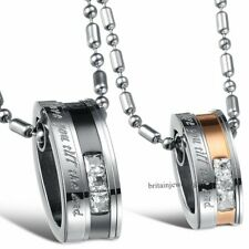 """Stainless Steel """"Love You Till the End"""" Ring Pendant Necklaces His and Hers Gift"""