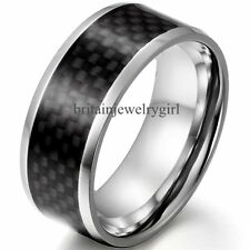 Mens Black Carbon Fiber Inlay Stainless Steel Ring Band Boys Mens Gift