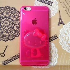 """3D Hot Pink Hello Kitty Soft Clear TPU Case Cover for iPhone 5/5S 6 4.7'' 5.5"""""""