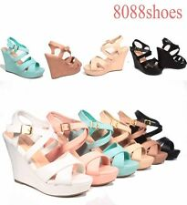 Women's Fashion Criss Cross Strappy Open Toe Wedge Sandal Shoes Size 6 - 10 NEW