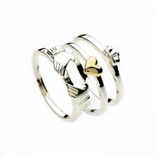 Ladies Silver & Gold Irish Claddagh Heart 3 Piece Stacking Ring Celtic Jewellery