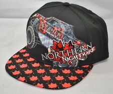 NEW Northern Nightmare Monster Truck Black Red Flat Brim Ball Cap Hat One Size