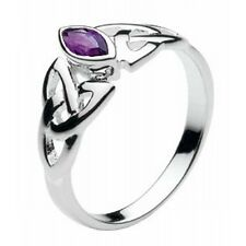 New Silver and Amethyst Stone Celtic Trinity Knot Ring Celtic Jewellery